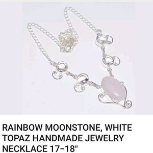handmade Jewelry - REAL GENUINE Moonstone Topaz necklace. Sterling